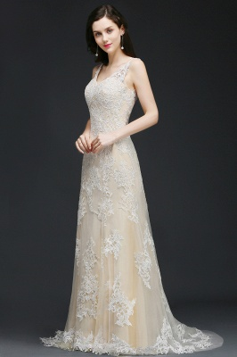 A-line V-Neck Sweep Train Champagne Prom Dresses with Buttons_5