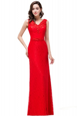 Long V-neck Floor-length Red Two-straps Sleeveless Prom Dress_3