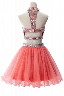 Two-piece Halter Sleeveless Short Tulle Cheap Prom Dresses with Crystal Beads_9
