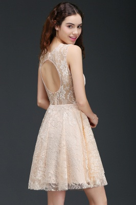 Cheap Modern Lace Pearl Pink Illusion Sleeveless Short Homecoming Dress in Stock_7