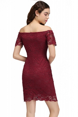 Cheap Burgundy Lace Sheath Homecoming Dress Short Sleeves Cocktail Dress in Stock_3