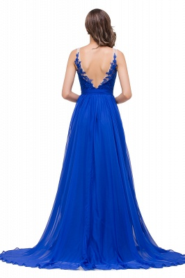 A-line Scoop-Neck Floor-length Sleeveless Chiffon Prom Dresses with Appliques_3