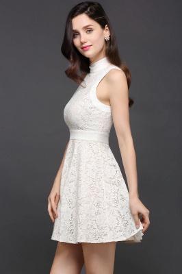 Princess High neck Knee-length White Cute Homecoming Dress_7