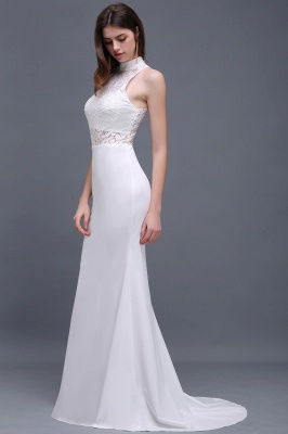 ALANNA | High Neck Mermaid  Lace White Wedding Dresses With Ruffles_3