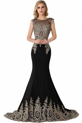 Cheap Mermaid Court Train Chiffon Evening Dress with Appliques in Stock_6