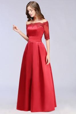 ELLISON | A-line Half Sleeve Floor-length Off-shoulder Appliques Prom Dresses_7