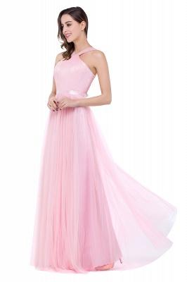 Cheap Sheath Pink Tulle Ribbon Sash Simple Bridesmaid Dress in Stock_7