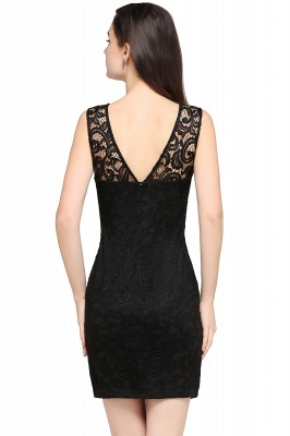 Cheap Cheap Sleeveless Bodycon Black Lace Short Sexy Cocktail Dress in Stock_10