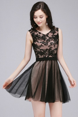 Cheap Short Lace Appliques Tulle Sleeveless Prom Dress in Stock_8