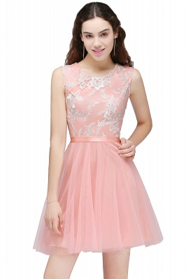 Cheap Pink Short Homecoming Dress with Lace Appliques in Stock_1
