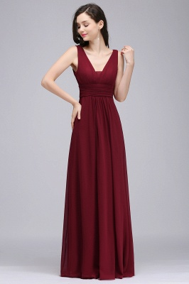 ALEXA | Sheath V Neck Burgundy Chiffon Long Evening Dresses_1