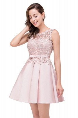 Cheap A-line Knee-length Satin Homecoming Dress with Lace in Stock_11