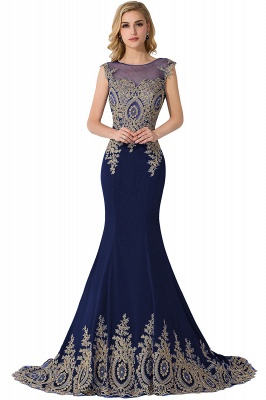 Cheap Mermaid Court Train Chiffon Evening Dress with Appliques in Stock_5