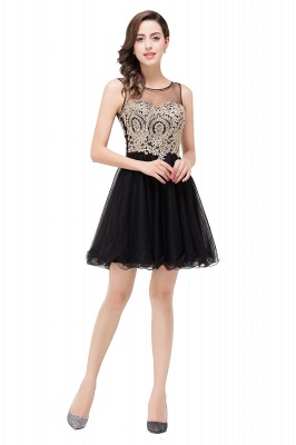 ESTRELLA | A-line Crew Short Sleeveless Appliques Prom Dress_7