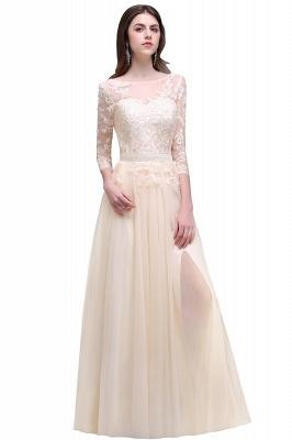 Champagne Scoop-Neckline Three-quarter-Sleeves Lace-Appliques Prom Dress_2