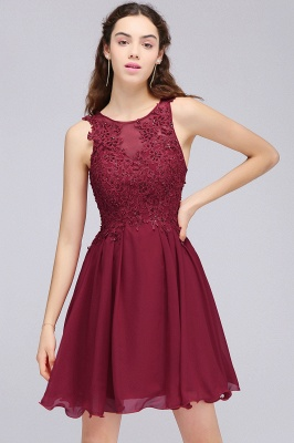 Cheap Burgundy A-line Homecoming Dress with Lace Appliques in Stock_12