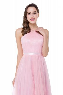 Cheap Sheath Pink Tulle Ribbon Sash Simple Bridesmaid Dress in Stock_9