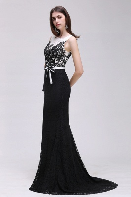 BRYNN | Mermaid Scoop Neckline Lace Black and White Elegant Prom Dresses with Bowknot Sash_4