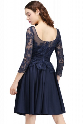Cheap Dark Navy A-line Homecoming Dress in Stock_3