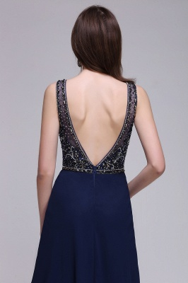A-line Long Chiffon Dark Navy Vintage Prom Dresses with Rhinestones_7