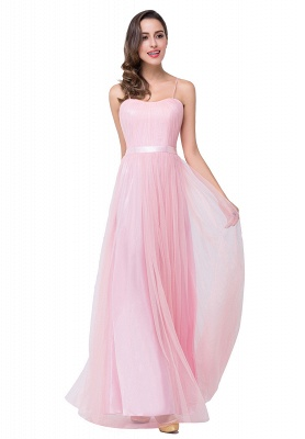 A-line Sweetheart Floor-length Pink Tulle Ruffles Cheap Bridesmaid Dresses_4
