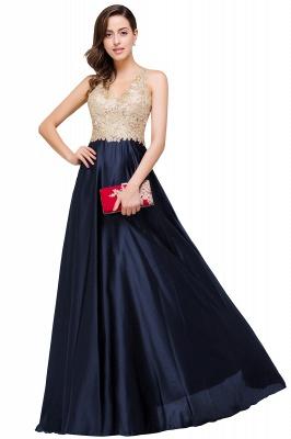 EMMALINE | A-Line Floor-Length V-neck Appliques Prom Dresses_5