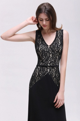 Black Lace V-Neck Long A-line Prom Dress In Stock_6