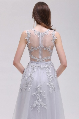 EMORY | Crew Tea Length Lace A-Line Appliques Short Prom Dresses_15