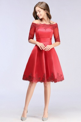 Cheap Chic Half Sleeve Lace-up Off-shoulder Lace Appliques Short Prom Dress in Stock_11