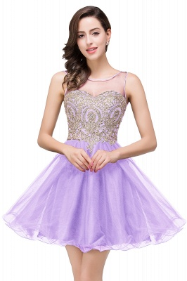 ESTRELLA | A-line Crew Short Sleeveless Appliques Prom Dress_3