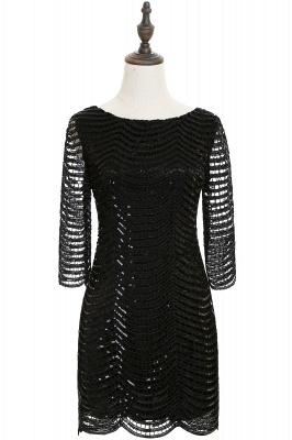 Cheap Black Champagne Sheath Long Sleeve Short Cocktailk Dress in Stock_5