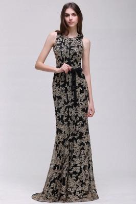 Sheath Round Neck Floor-Length Lace Evening Dresses_6