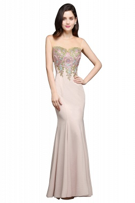 Mermaid Floor Length Pearl Pink Evening Dresses with Appliques_1