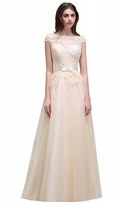 Champagne Evening  Prom Off-the-shoulder Floor-Length with-Belt Lace-Appliques Party Dress_4