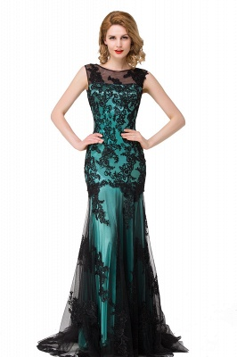 DANIELA | Scoop Neck lace Applique Mermaid Black Prom dresses_5