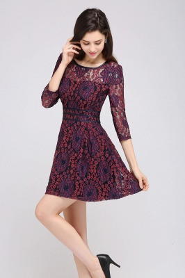 ANNIKA | A-line Scoop Short Lace Cocktail Dresses_3