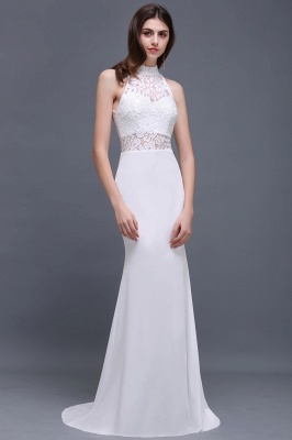 ALANNA | High Neck Mermaid  Lace White Wedding Dresses With Ruffles_2