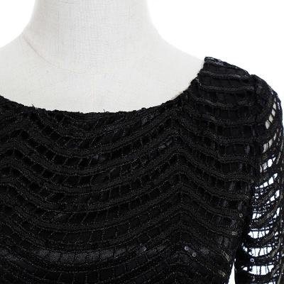 Cheap Black Champagne Sheath Long Sleeve Short Cocktailk Dress in Stock_9