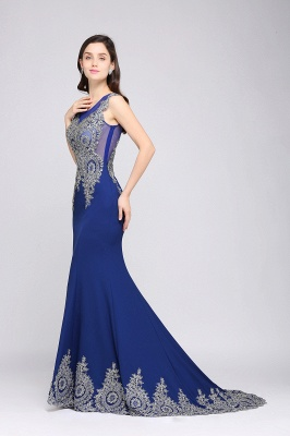 Mermaid Scoop Sweep Train Royal Blue Prom Dresses with Appliques_4