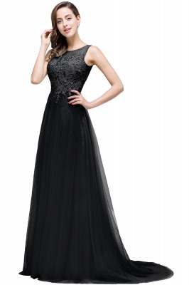 Cheap A-line Court Train Tulle Evening Dress with Appliques in Stock_7