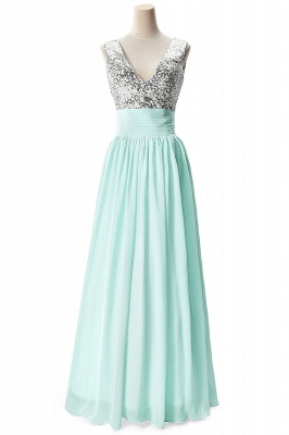 Cheap A-line V-neck Chiffon Party Dress With Sequined in Stock_5