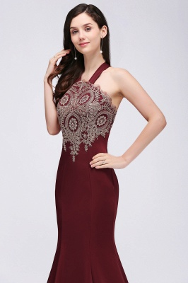 Mermaid Scalloped Floor-length Appliques Burgundy Prom Dresses with Beadings_7