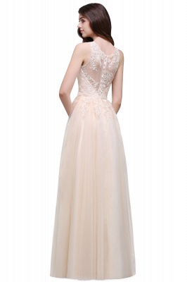 Lace-Appliques Prom Champagne Charming Sleeveless  Scoop-Neckline Party Dress_12