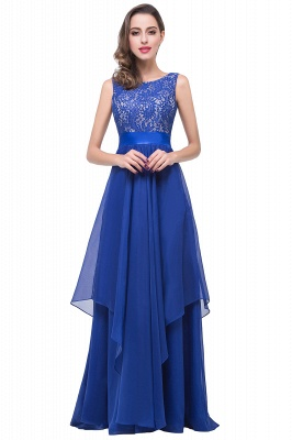 ADDISON | Affordable A-line Floor-length Chiffon Evening Dress with Lace_3