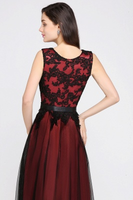 Cheap Pretty Sleeveless Black Lace Tulle Floor Length Formal Evening Dress with Sash in Stock_8