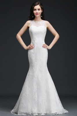 Mermaid Sweep Train Lace New Arrival Wedding Dresses with Buttons_1