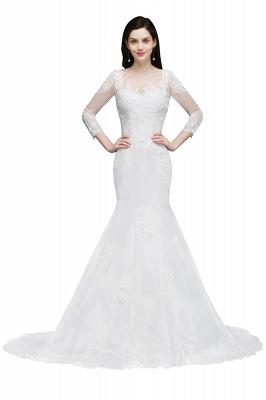 Mermaid Jewel White Wedding Dress With Lace_1