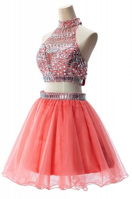 Two-piece Halter Sleeveless Short Tulle Cheap Prom Dresses with Crystal Beads_12