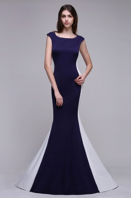 Sheath Scoop Floor-Length Dark Navy Evening Dresses_5