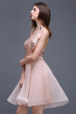 ALAYAH | A Line Halter Organza Short Homecoming Dresses With Sequins_4